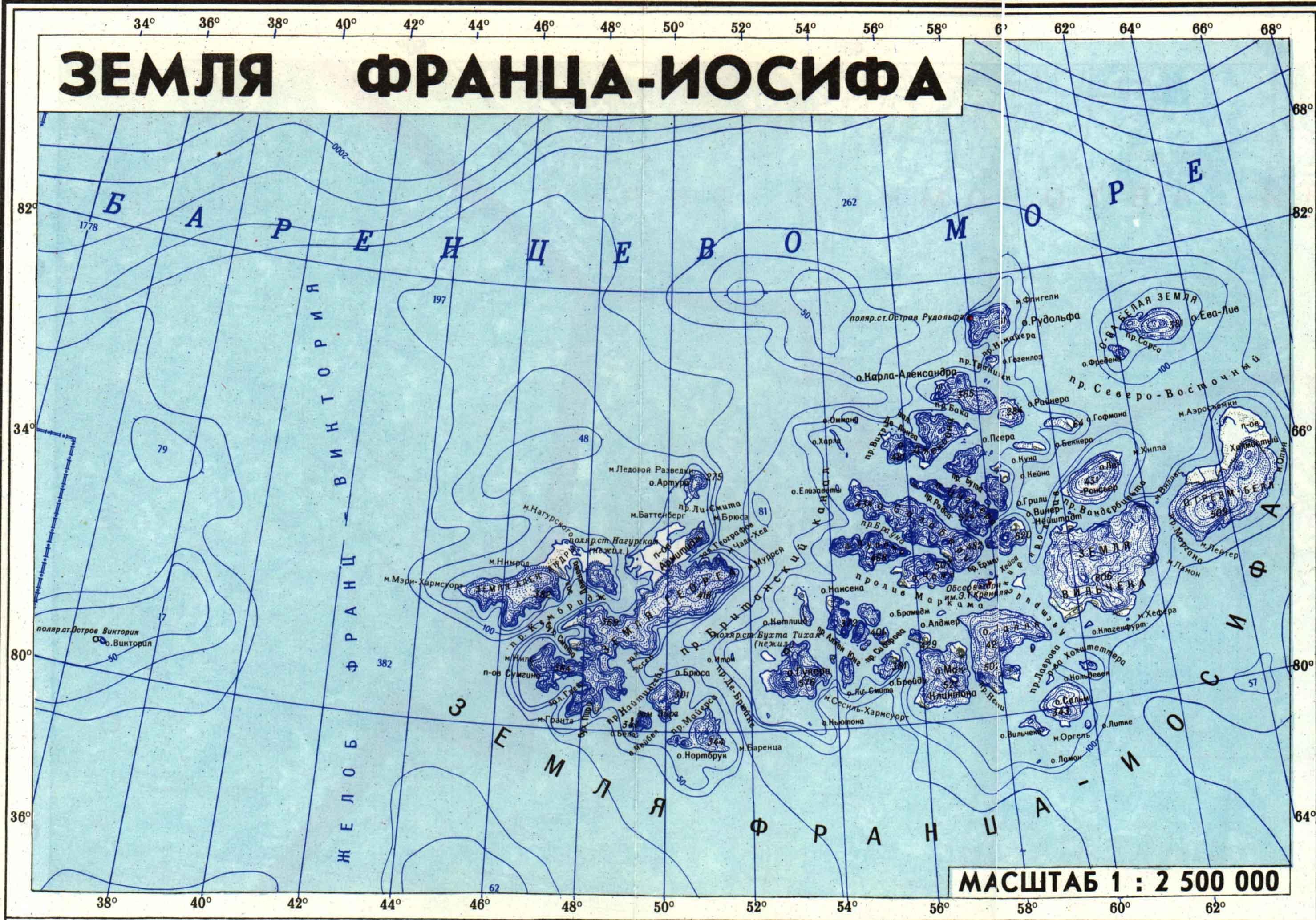 Где находиться земля франца иосифа карта