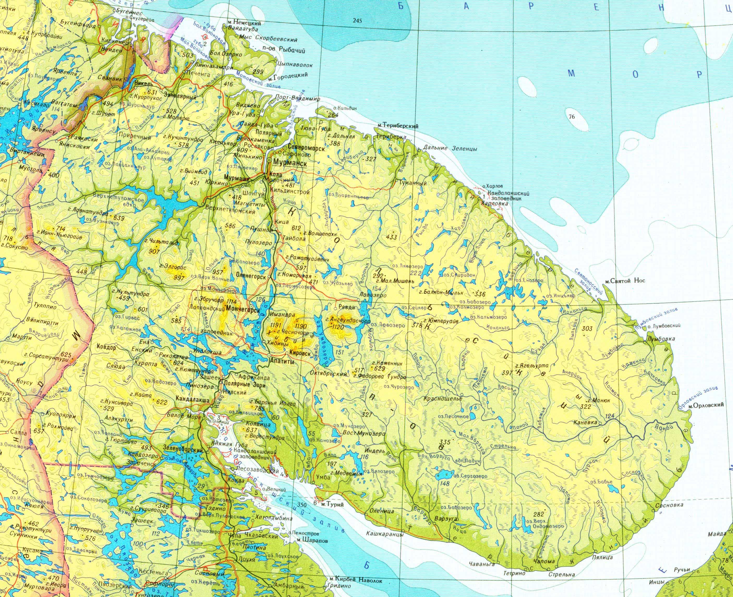 Карта Озера Имандра