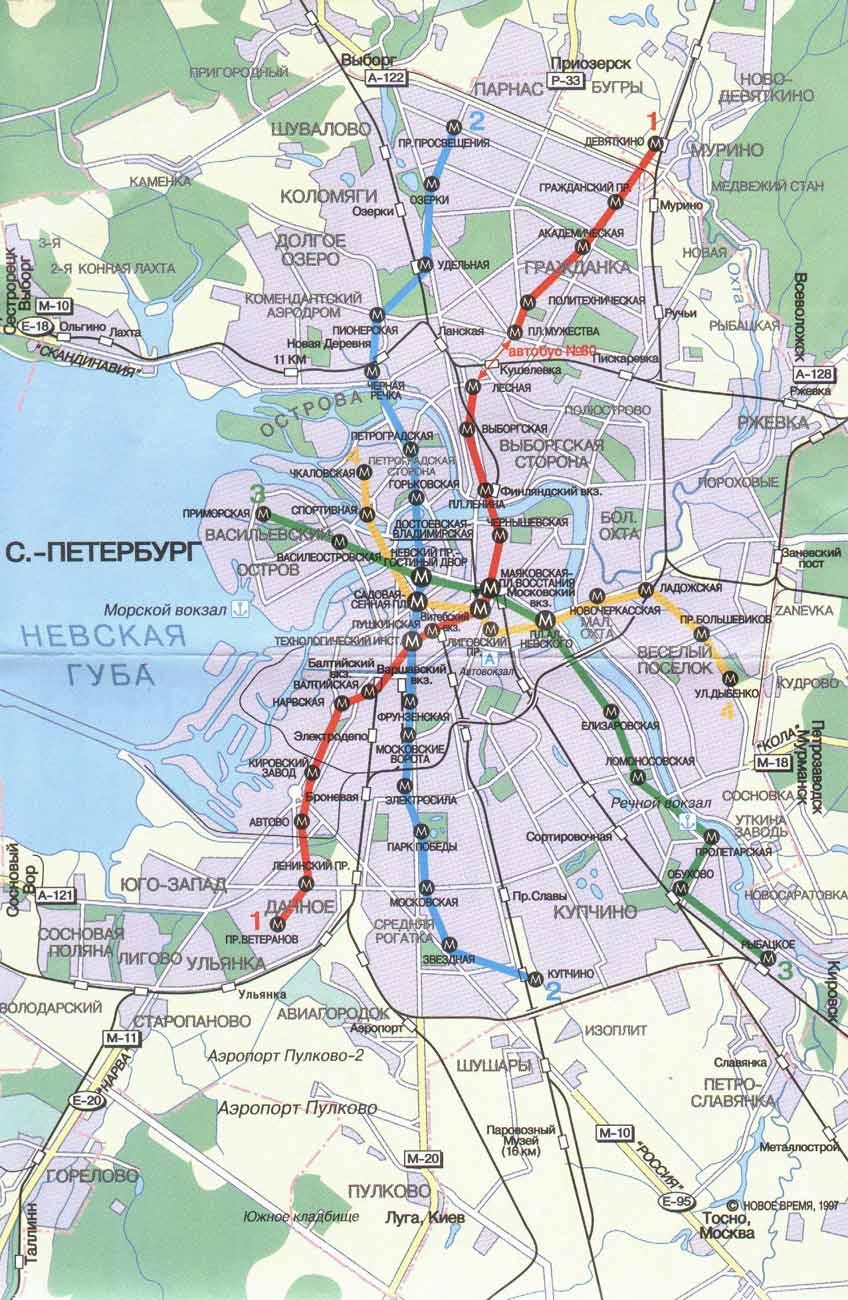 Схема метро СПб с наложением на карту города.
